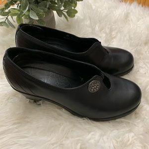 Dansko Black Slip On Comfort Leather Heals Shoes